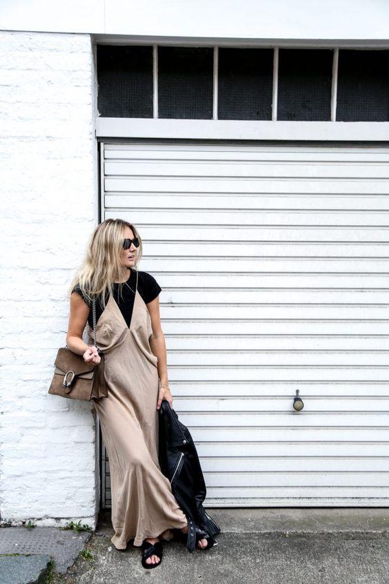 Fashion Me Now Silk Cami Dress Leather Jacket Gucci Dionysus Bag