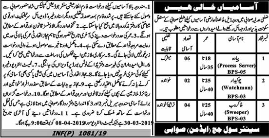District And Session Judge Swabi Jobs 2019