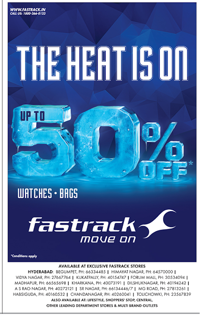 Up to 50% off on Fastrack watches and Bags | May 2016 discount offer