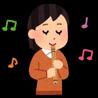 ケーナを吹く人のイラスト(女性)