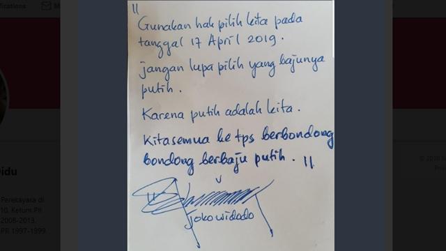 Minta Warga Berbaju Putih ke TPS, Jokowi Ogah Pake Kotak-Kotak lagi karena Ahok Nyungsep?