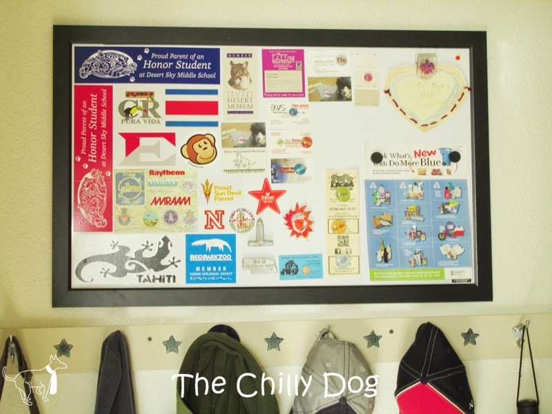 Nifty and Swifty: Use bumper stickers and decals on a white board to create an artistic keepsake | The Chilly Dog