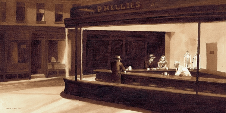 08-Edward-Hopper-Nighthawks-Karen-Eland-Coffee-and-Water-Recreate-Famous-Paintings-with-a-Difference-www-designstack-co