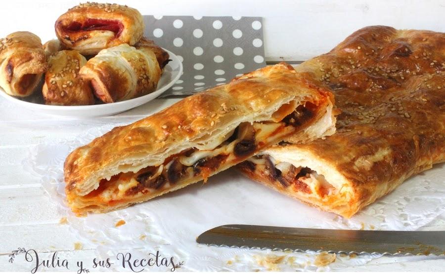 Hojaldre de sobrasada, queso y dátiles. Julia y sus recetas