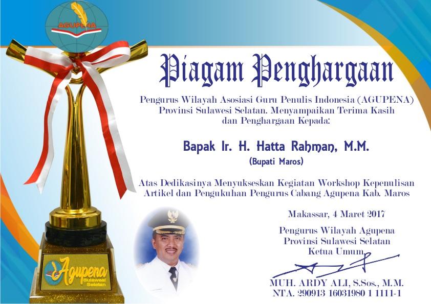 Penghargaan untuk Bupati Maros