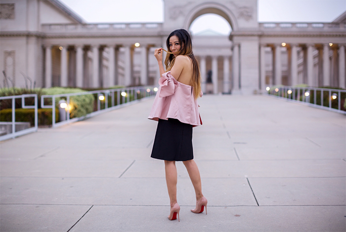 pink bow knots off shoulder top, off shoulder top, slit skirt, saint laurent clutch, christian louboutin so kate pumps, san francisco street style, date night outfit ideas