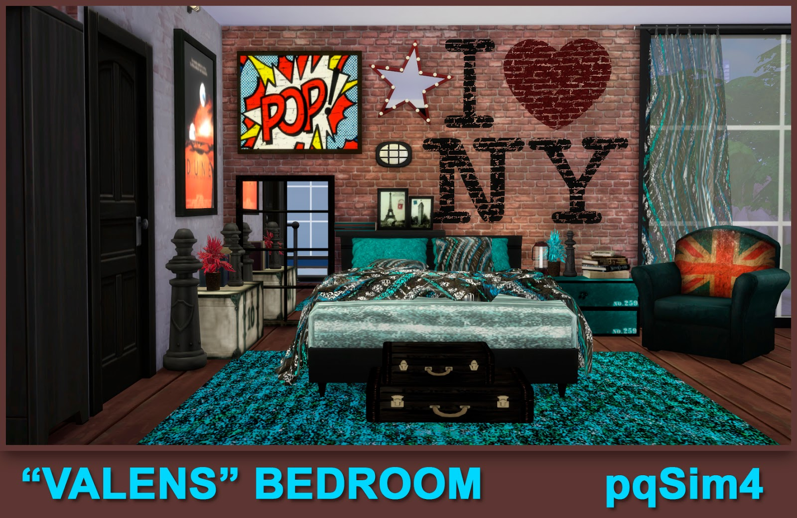 Valens bed room sims 4 custom content for Dormitorio sims 4