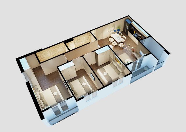 Thiết kế căn 3 phòng ngủ City Gate 3 - Chủ đầu tư NBB