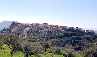 The hilltop town of Castroreale in Sicily