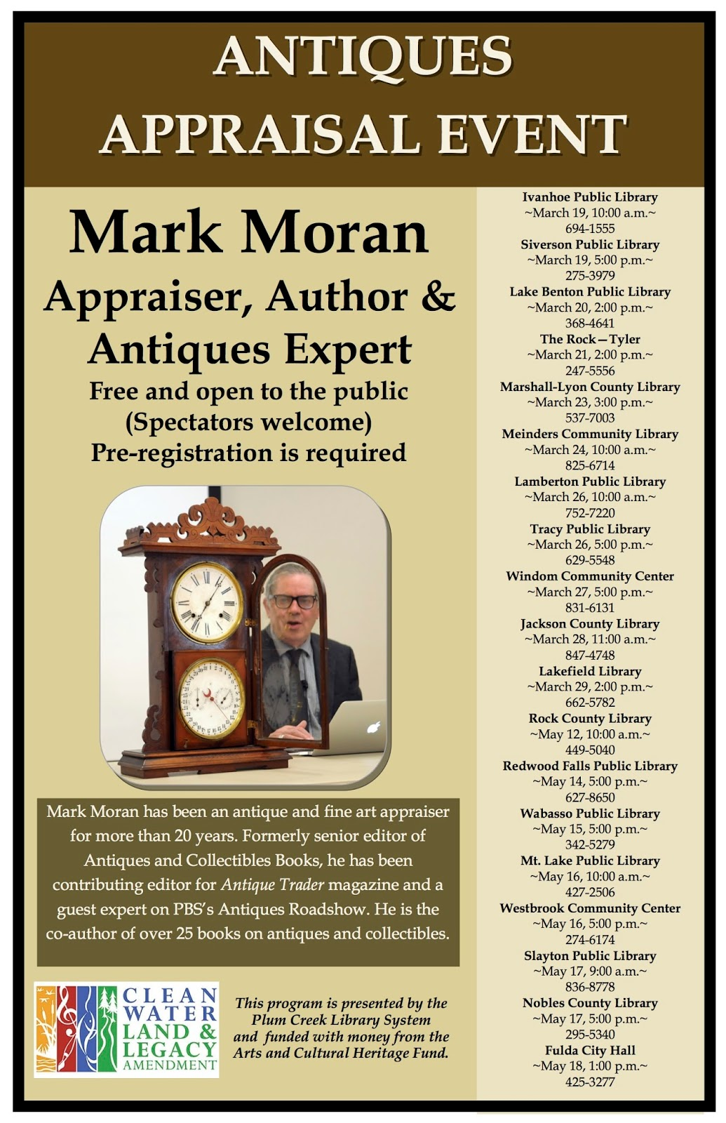 Mark F  Moran Appraisals: Antique Appraisal Events