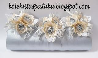 Tas Pesta Clutch Bag Handmade Silver Mewah A8