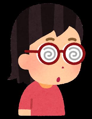 分厚いメガネを掛けた人のイラスト