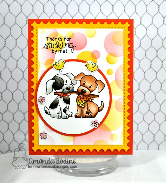 Puppy and Stick Card by Amanda Bodine | Puppy Pals Stamp Set and Bokeh Stencil Set by Newton's Nook Designs #newtonsnook #handmade