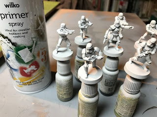 The Stormtroopers are sprayed with white paint