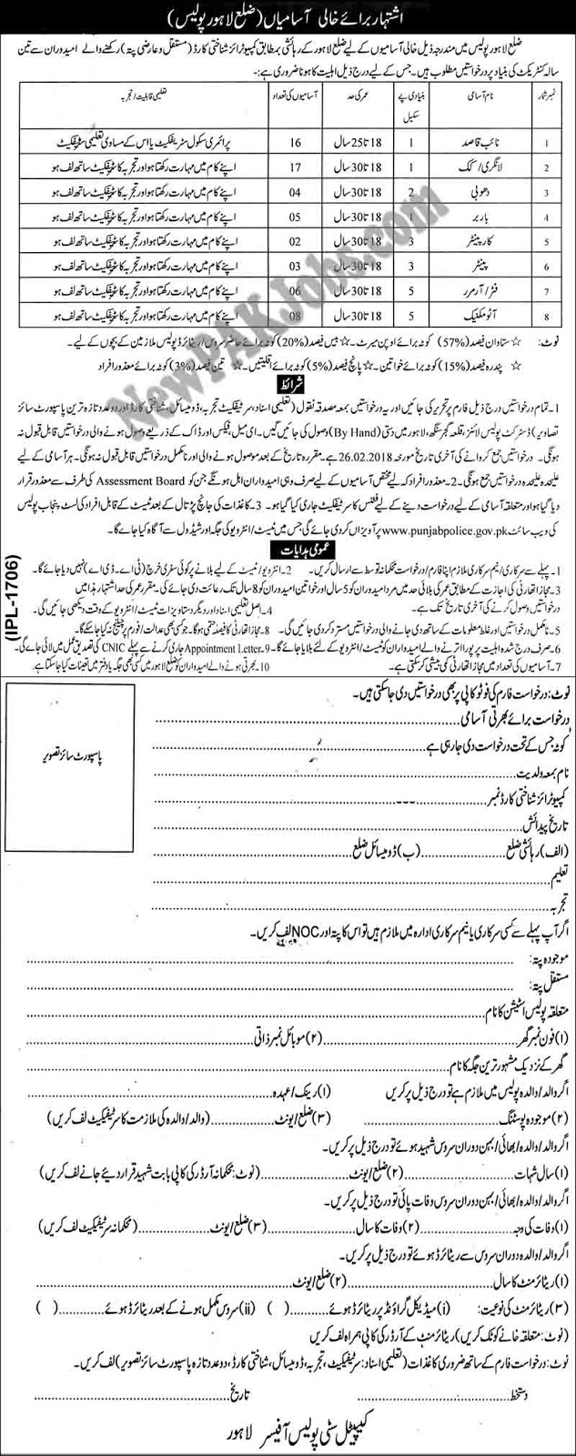 New Jobs in District Lahore Police for Naib Qasid, Langri, Dhobi & Other Today 2018