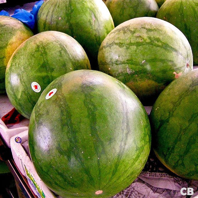 Watermeloenen op de markt in Maleisië
