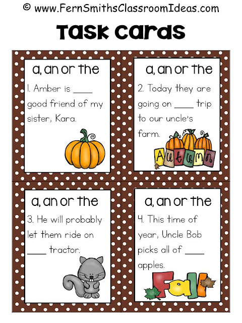 Fern Smith's Classroom Ideas Fall Correct Article Usage Task Cards, Definition Posters, Recording Sheets and Answer Keys Perfect for Back to School and Autumn Scoot, Centers and Homework at TeacherspayTeachers.