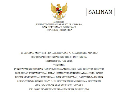 Permenpan Nomor 8 Tahun 2016 tentang Penetapan Kebutuhan dan Pelaksanaan Seleksi Dokter, Dokter Gigi dan Bidan PTT, Guru, dan Penyuluh THL Menjadi Calon Aparatur Sipil Negara di Pemerintah Daerah