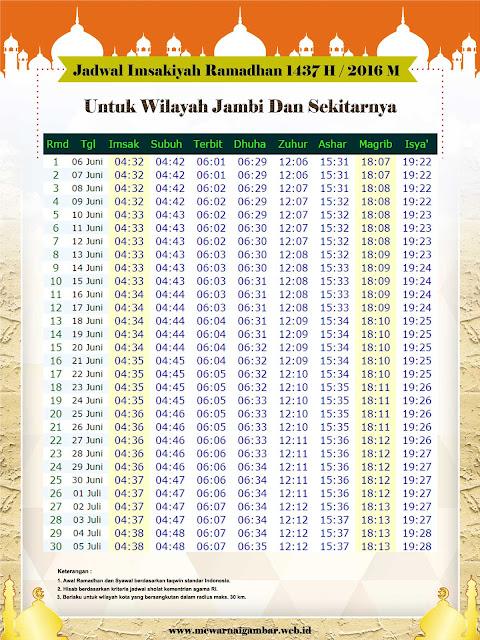 Jadwal Imsakiyah Jambi Ramadhan 1437 H 2016 M