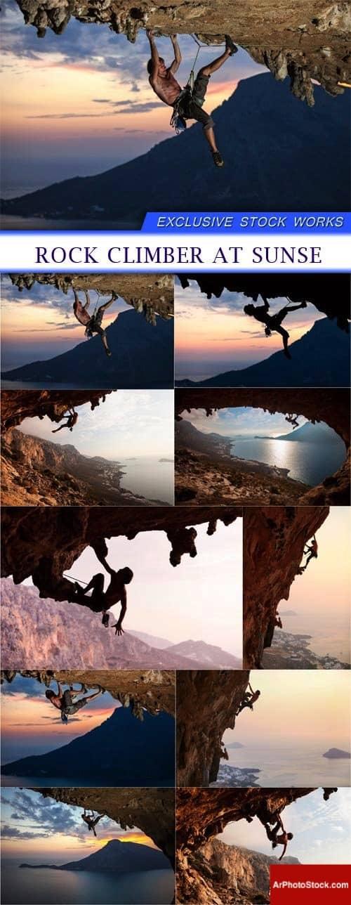 تحميل 10 صور لرجل يتسلق الصخور في وقت الغروب بجودة عالية