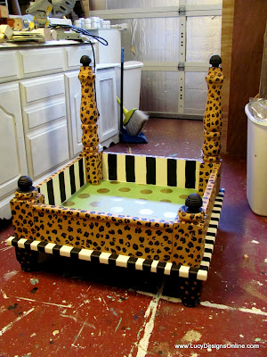 hand painted dog bed