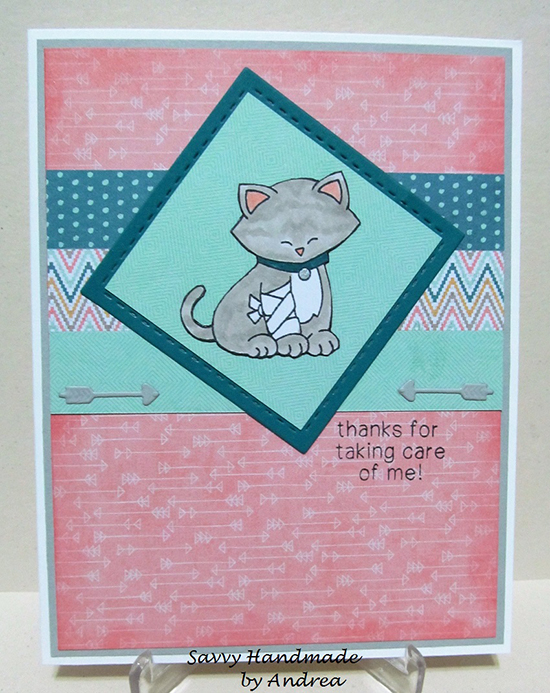 Sick Kitty card by Savvy Handmade | Newton's Sick Day stamp set by Newton's Nook Designs | Inky Paws #32 Challenge | #newtonsnook