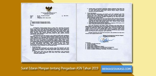 Surat Edaran Menteri PANRB Nomor B/617/M.SM.01.00/2019 Tentang Pengadaan ASN Tahun 2019
