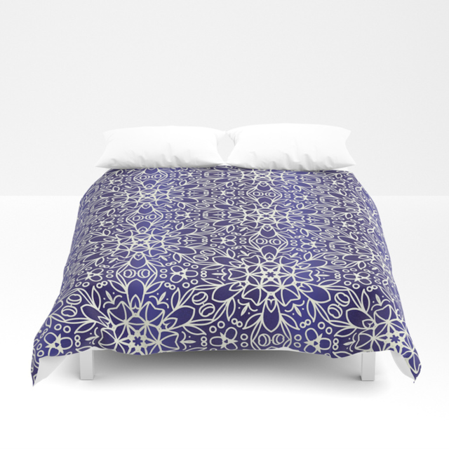Midnight Flowers Pattern Duvet Cover