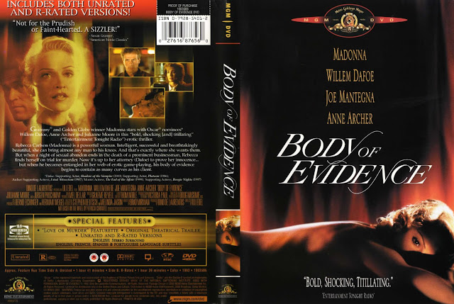 DVD cover Body of Evidence 1993 movieloversreviews.filminspector.com