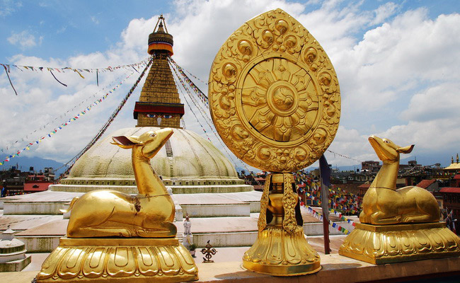 Xvlor Boudhanath Stupa is Buddhist dominates horizon of Kathmandu Valley