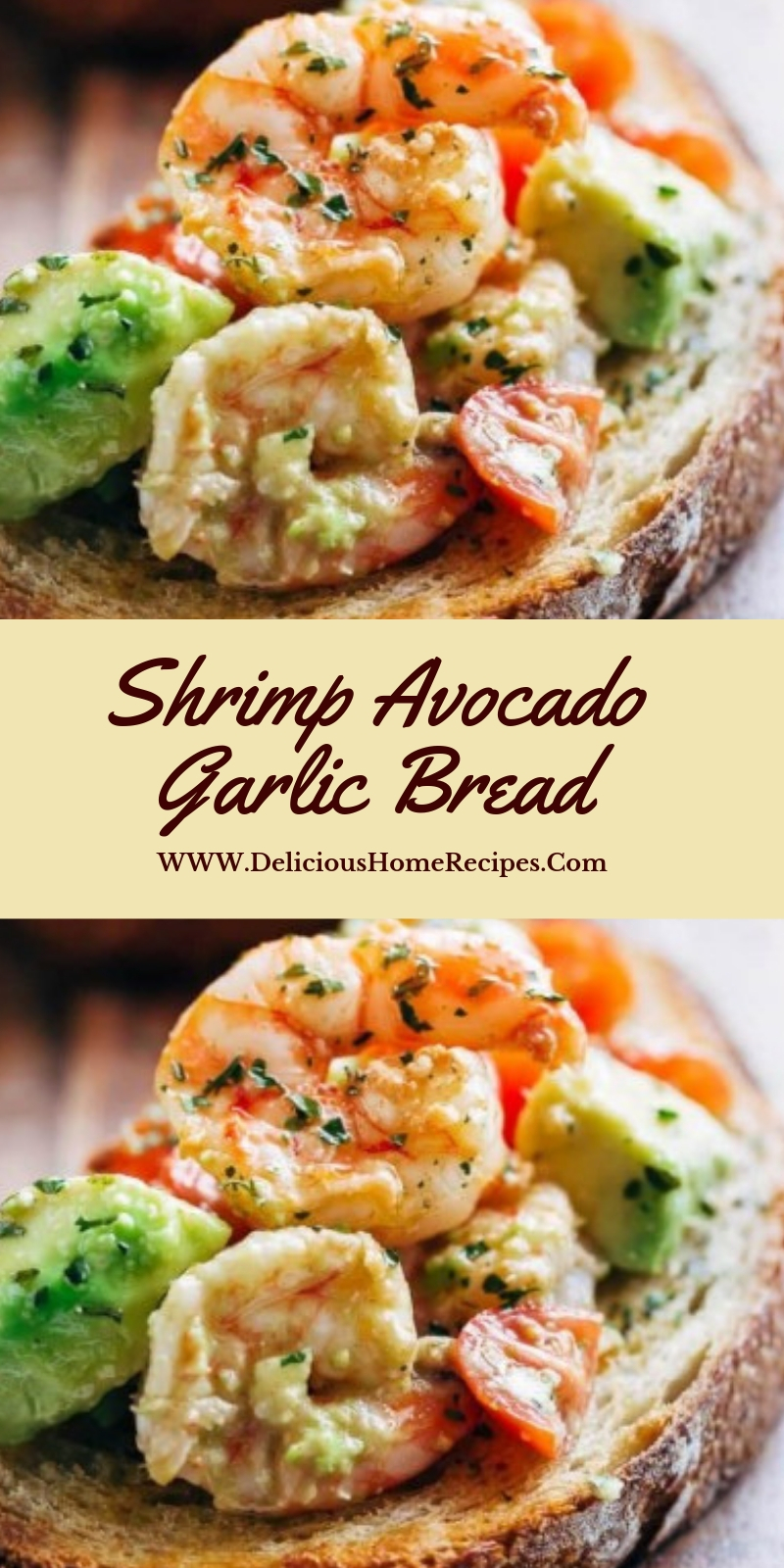 Shrimp Avocado Garlic Bread #christmas #lunch