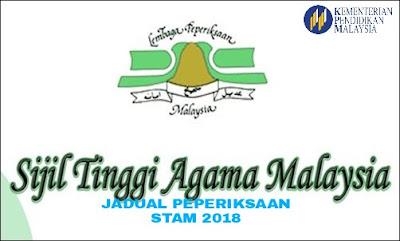 Jadual Waktu Peperiksaan STAM 2018