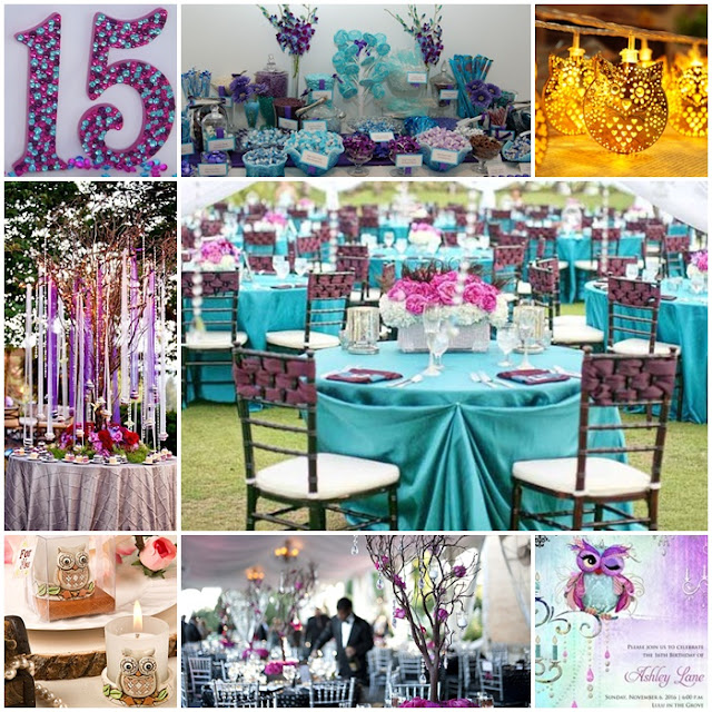 Owl Quinceanera Sweet Fifteen Theme Quince Candles