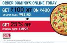 Dominos : Yaari Dosti Wednesday - Get 25% Off on Min. Bill of ₹ 350/-.