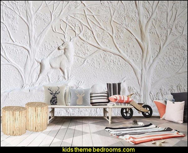 wallpaper-3D White relief wall deer tree