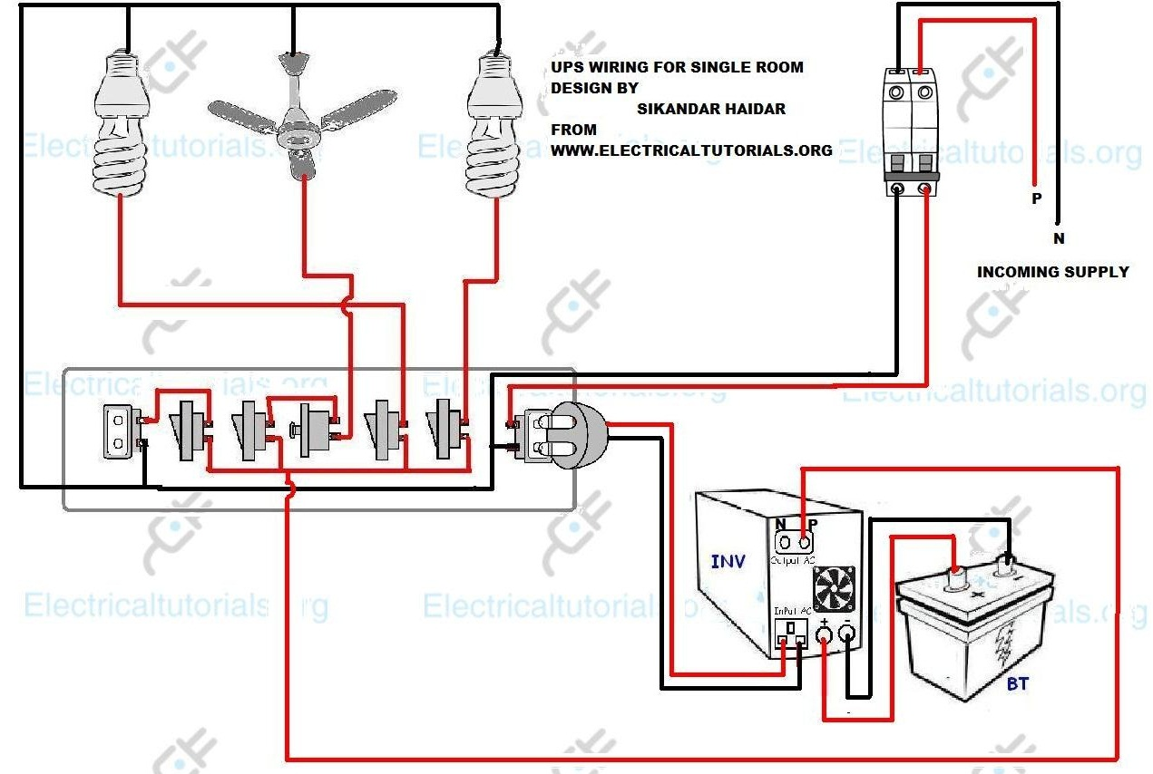 ups wiring inverter wiring diagram for single room electrical rh electricaltutorials org house wiring diagram single phase house wiring diagram single phase