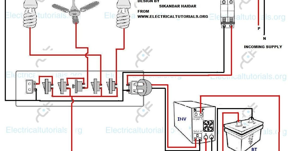 ups wiring inverter wiring diagram for single room electrical rh electricaltutorials org UPS Block Diagram Complete Circuit Diagram