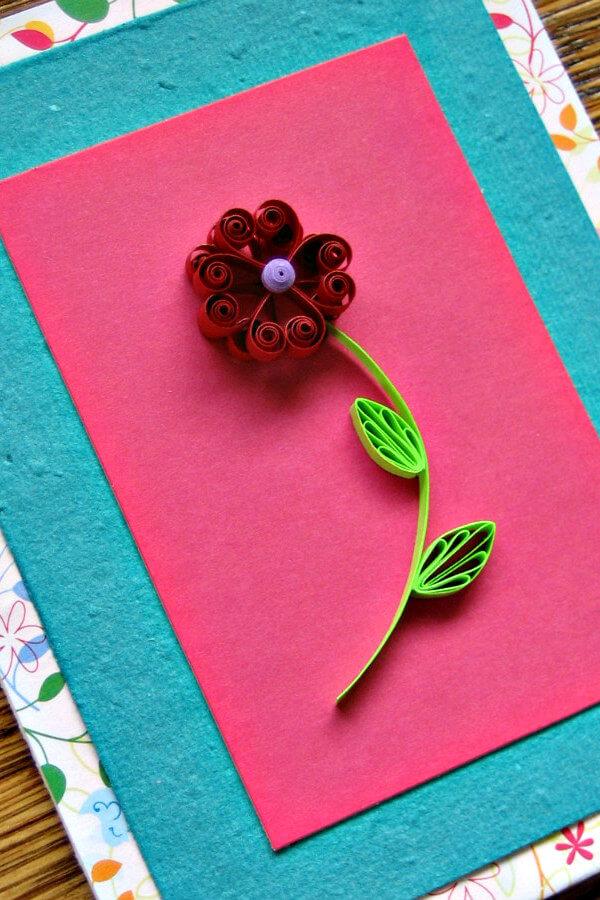 Quilled Heart Flower Card