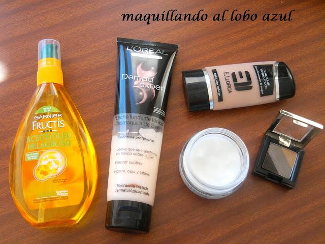 Aceite de Garnier, desmaquillante de Loreal, base de maquillaje de E. Llorca, crema facial Vitesse, sombras de ojos Set