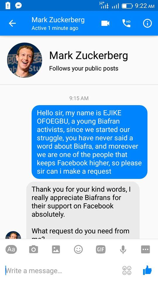 BIAFRIAN WRITES TO FACEBOOK OWNER MARK ZUCKERBERG ABOUT NNAMDI KANU – WHAT HE SAID WILL SHOCK BIAFRIANS