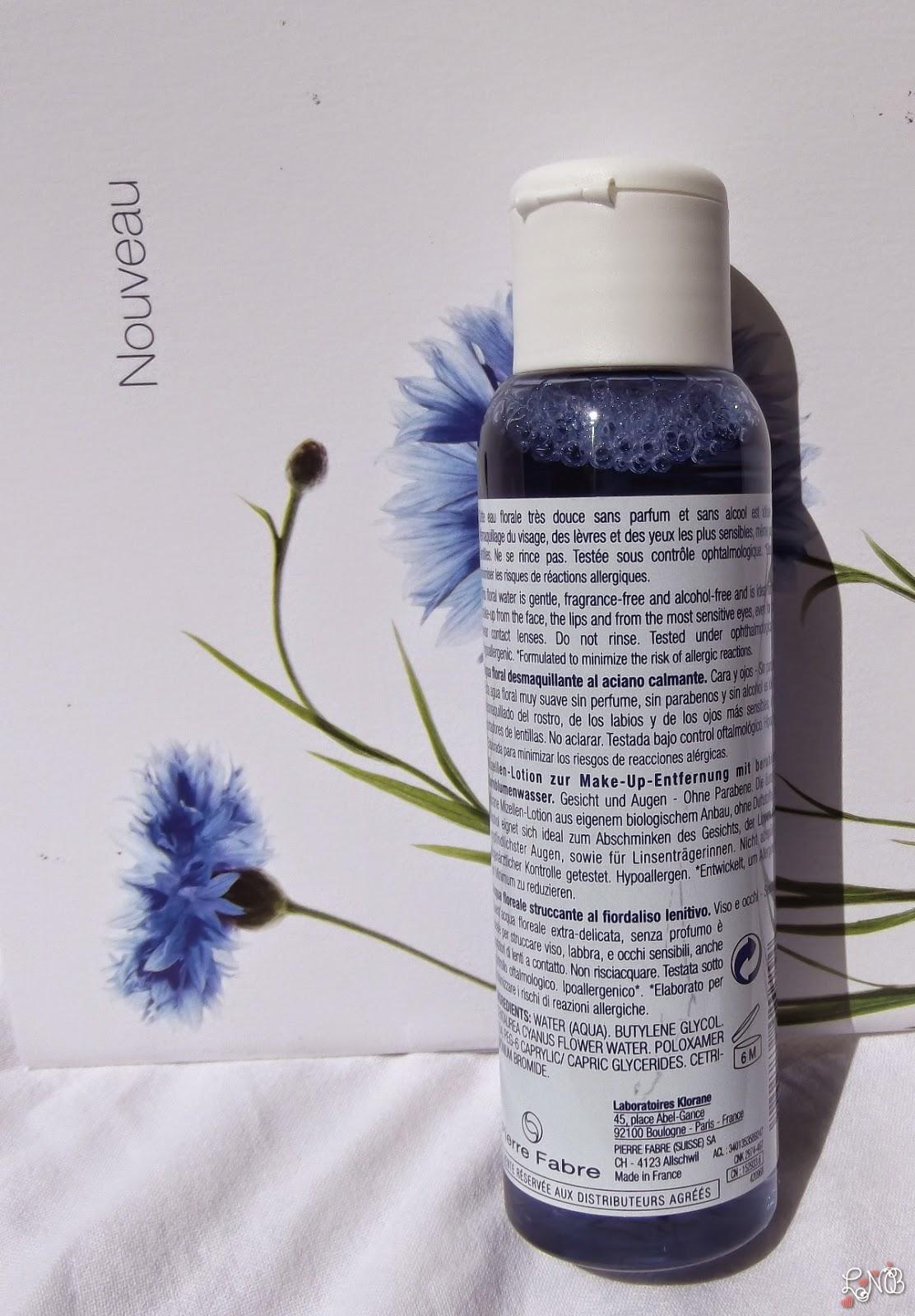 KLORANE Eau Florale Démaquillante au Bleuet apaisant.