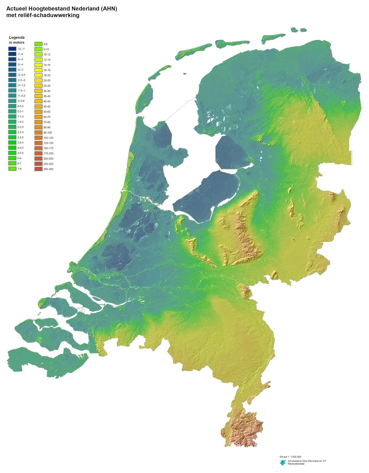 Very detailed relief map of The Netherlands