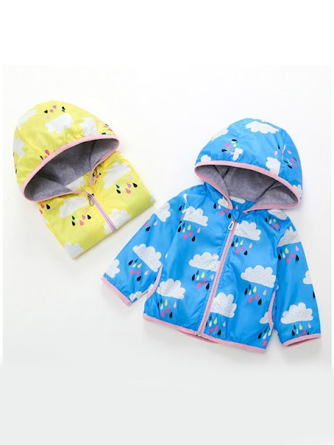 Hooded Cloud Rain Print Thin Coat Top Zip-up for Baby Toddler Girls Boys Wholesale