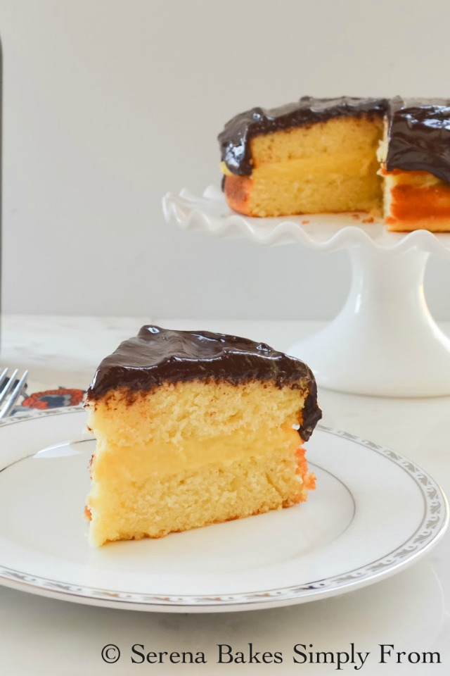 Boston Cream Pie recipe is a light yellow sponge cake filled with vanilla pastry cream and covered in chocolate ganache