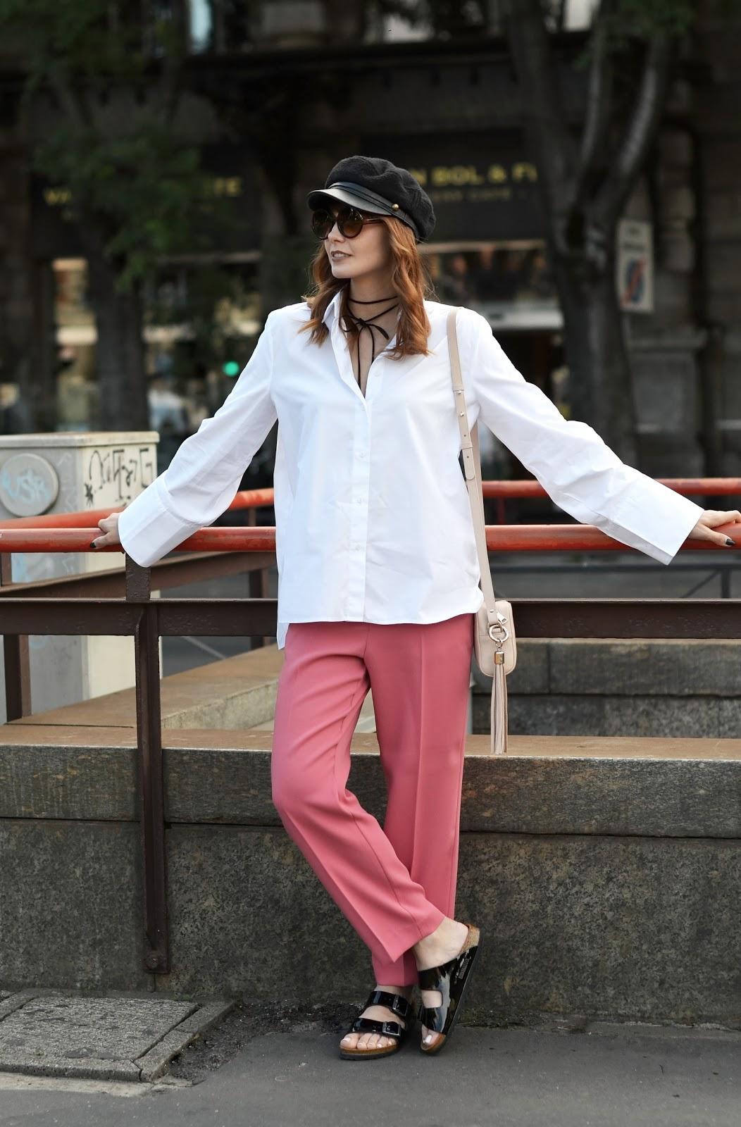 blog modowy | koszula z szerokimi rekawami | choker | streetstyle milano | mediolan