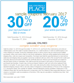 Childrens Place coupons for february 2017