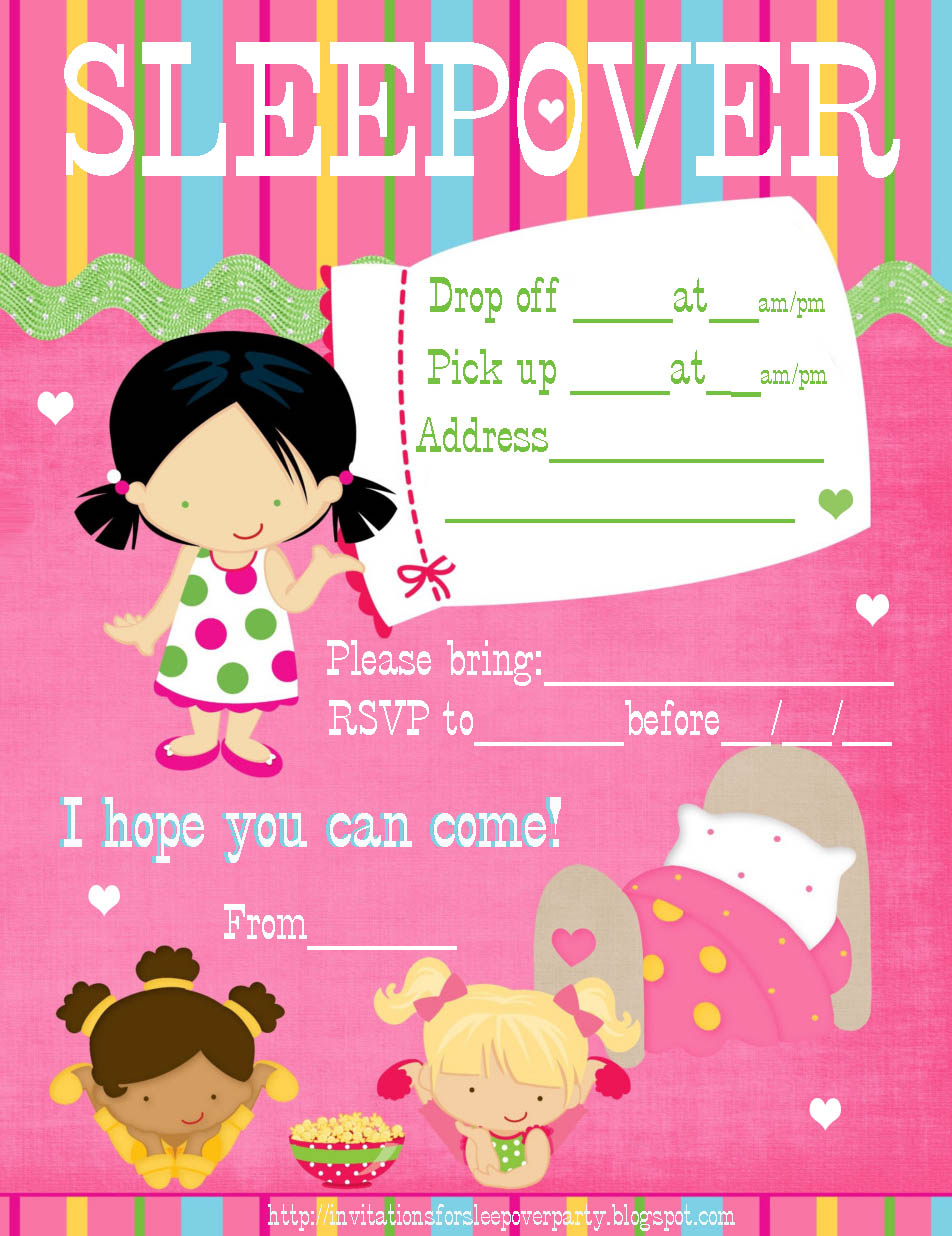 It's just a picture of Unusual Printable Sleepover Invitations