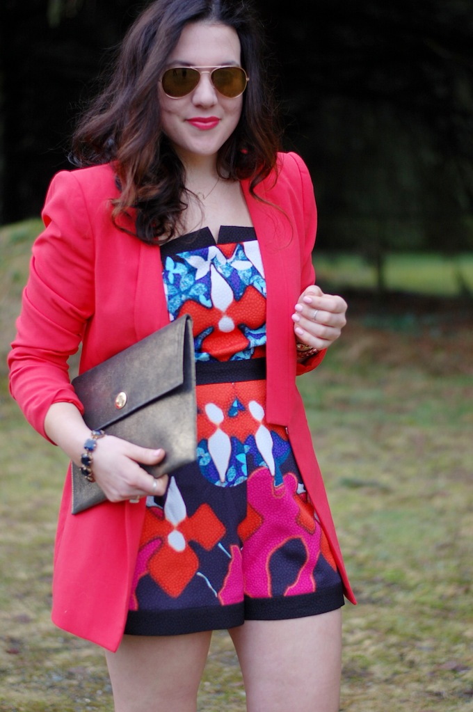 Peter Pilotto for Target romper and red BCBGMAXAZRIA blazer from Vancouver fashion blogger Covet and Acquire.