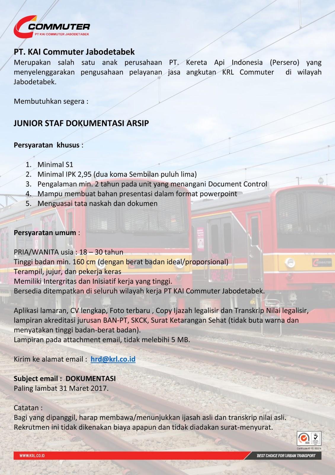 lokr pt kai commuter jabodetabel junior staff dokumentsi arsip 2017