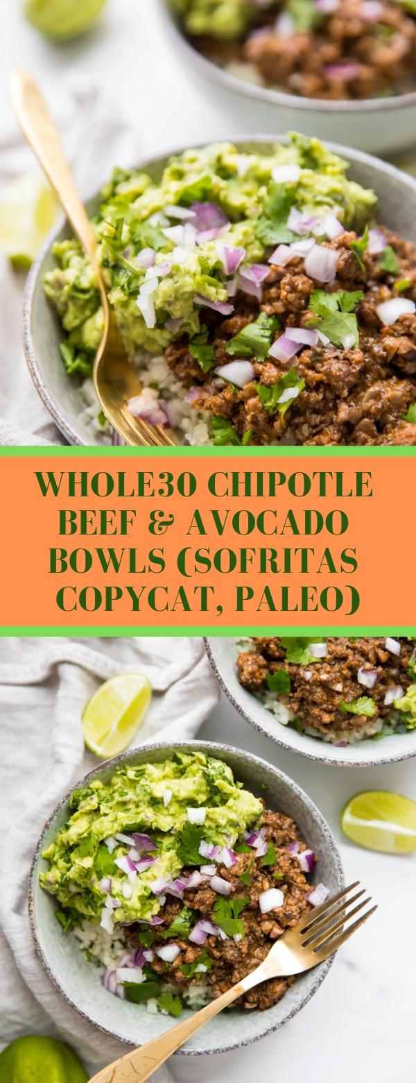 Whole30 Chipotle Beef & Avocado Bowls (Sofritas Copycat, Paleo) #BEEFRECIPES #AVOCADO